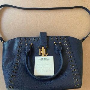 Ralph Lauren Navy Blue With Gold Accents Handbag